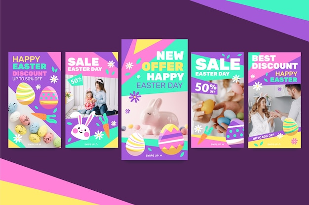 Коллекция разноцветных пасхальных историй в instagram