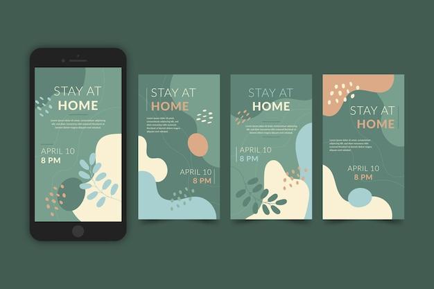 Пребывание дома событие шаблон коллекции историй instagram