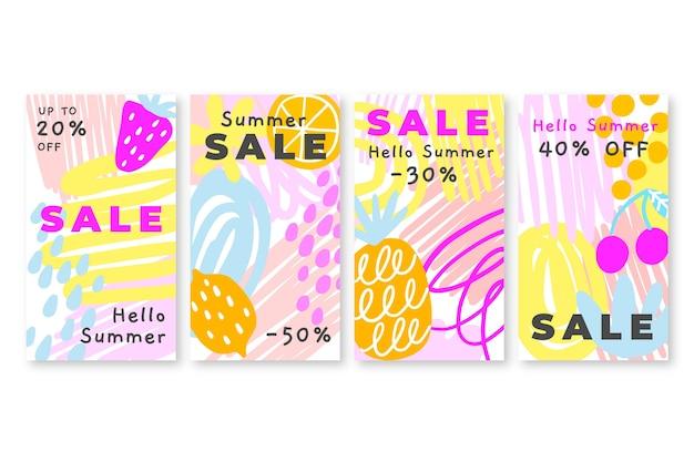 こんにちは夏のセールinstagramストーリーコレクション
