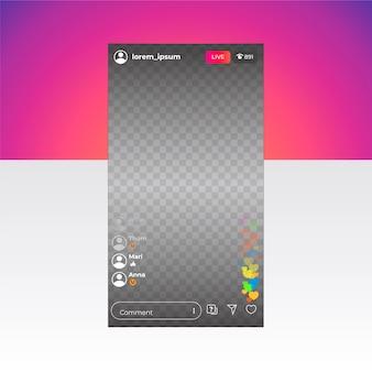 Интерфейс instagram в прямом эфире