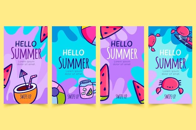 こんにちは夏instagramストーリーセット
