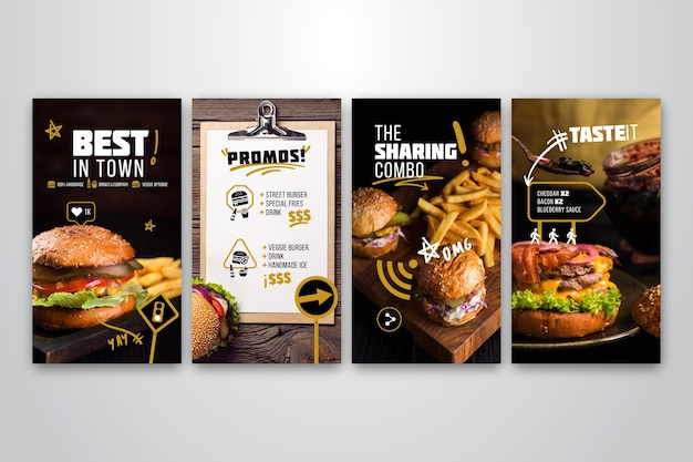 バーガーレストランのinstagramストーリーコレクション