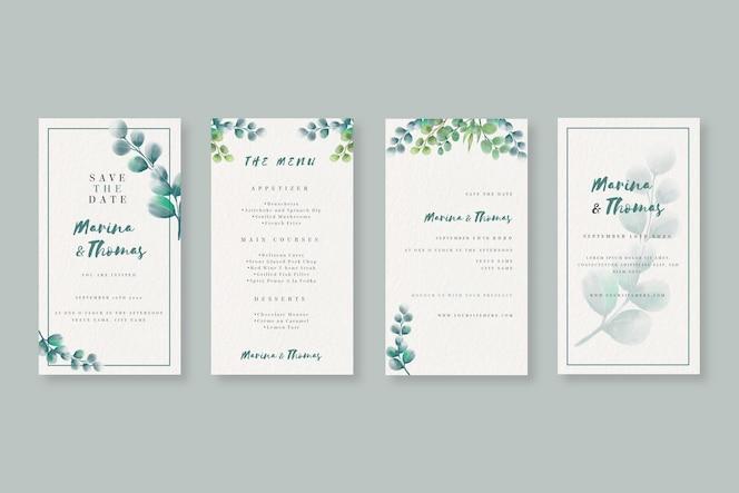 結婚式のための水彩instagramストーリーコレクション