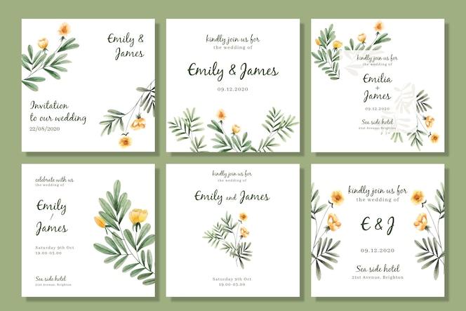 結婚式のための水彩画の花のinstagram投稿コレクション