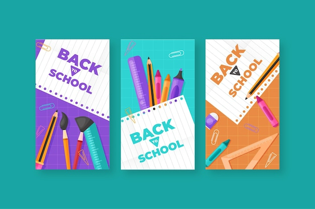 Плоский дизайн обратно в школьную коллекцию instagram