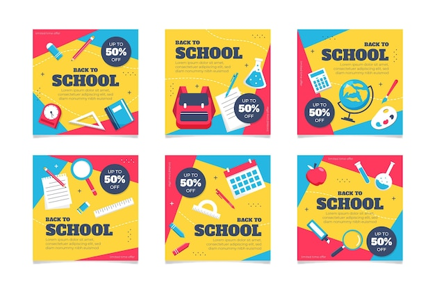 学校のinstagramの投稿に戻るフラットなデザイン