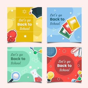 Плоский дизайн обратно в школу набор сообщений instagram
