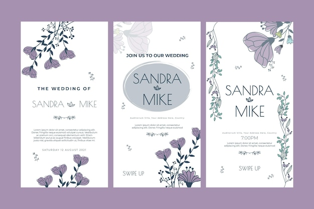Шаблон истории цветочные свадебные instagram