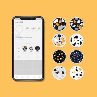 Instagramストーリーテラゾー抽象的なデザインのハイライトアイコンのコレクション