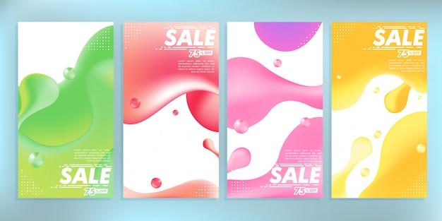 Жидкость цветной абстрактный современный графический instagram истории продажа баннер шаблон фона