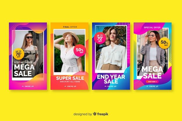 Красочные абстрактные продажи instagram истории с изображением