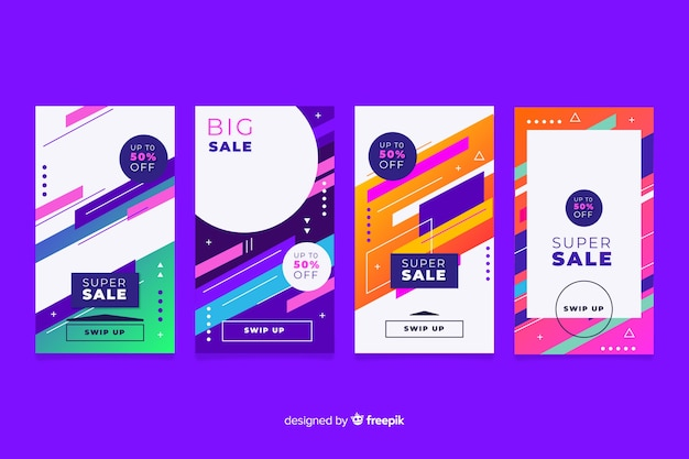 Красочные абстрактные истории продаж instagram