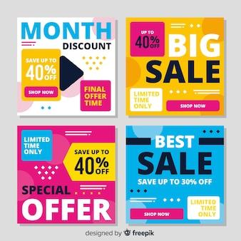 Красочные абстрактные продажи instagram пост набор