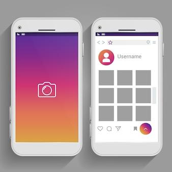 スマートフォンにインスパイアされたソーシャルメディアのページinstagram