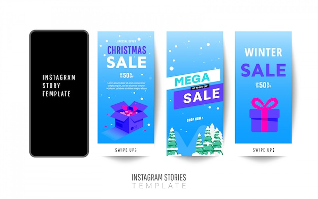 Instagramストーリーテンプレート。ギフトボックス、クリスマスツリーと冬の大きな販売バナーデザイン