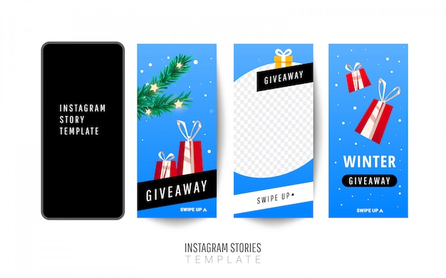 Instagramストーリーテンプレート。ギフトボックス、クリスマスツリーとクリスマスプレゼント