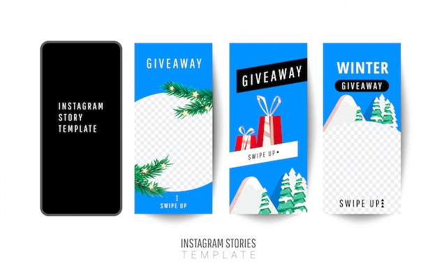 Шаблон истории instagram. подарок к рождеству с подарками, елками