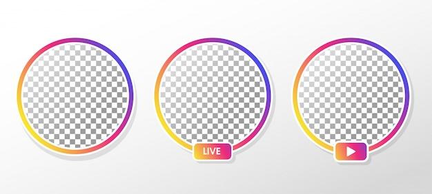 Instagramライブ。ソーシャルメディアでのライブストリーミング用のグラデーションサークルプロファイルフレーム。