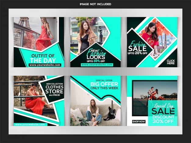 Модный веб-баннер для социальных сетей instagram пост шаблона