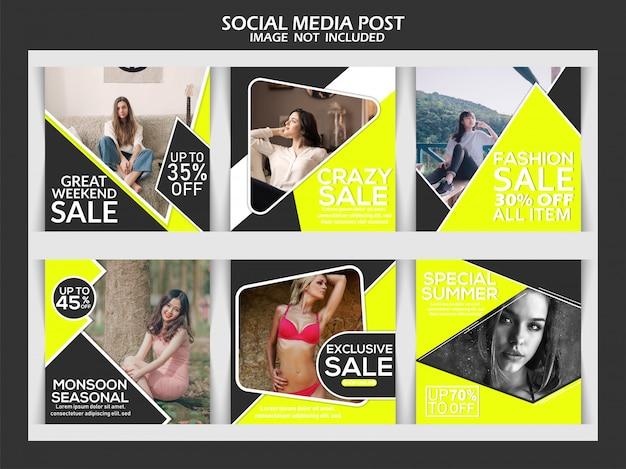 Мода продажа квадратный баннер или instagram пост набор шаблонов