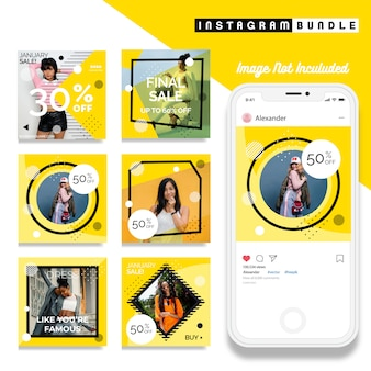 黄色のinstagramのファッションポストテンプレート