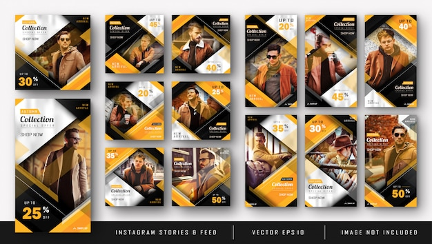 ファッション販売テンプレートの黄色のinstagramキットバンドル