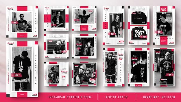 ミニマリストの赤いinstagramストーリーとフィードポストファッション販売テンプレート