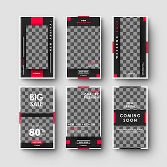 Минималистский черный красный социальные медиа instagram истории баннер коллекция