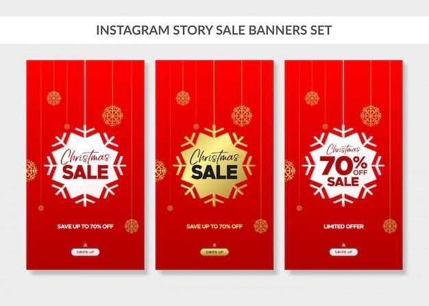 Instagramストーリーの赤いクリスマス垂直販売バナーセット