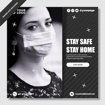 コロナウイルス防止バナーinstagram投稿プレミアムベクトル