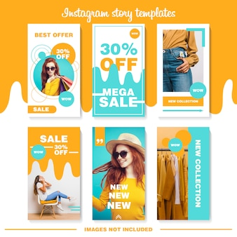 オレンジ&ブルーのinstagramストーリーテンプレート