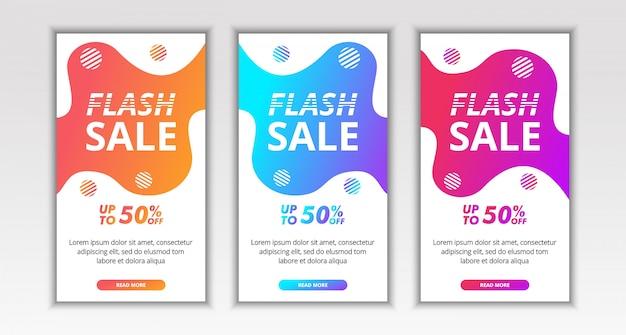 動的な現代の流体、instagramのソーシャルメディアの記事のためのフラッシュセールモバイルバナーのテンプレートデザイン