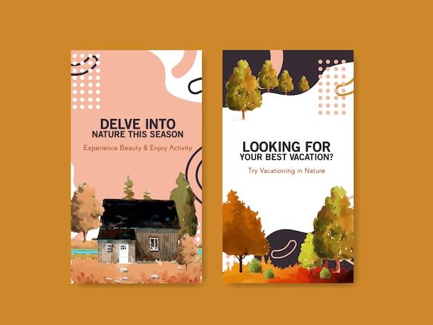 秋のデザインの風景のinstagramストーリーテンプレート