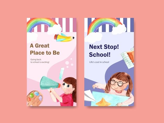 Обратно в школу и концепция образования с шаблоном истории instagram