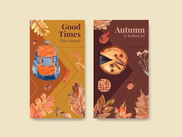 デジタルマーケティングとソーシャルメディア水彩画の秋の毎日のコンセプトデザインのinstagramテンプレート