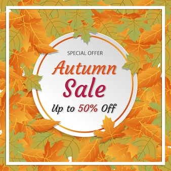 秋のセール割引スクエアソーシャルメディアinstagramの広告バナー