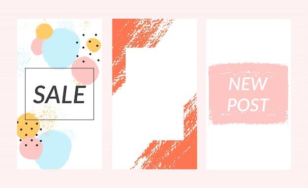 Набор из instagram истории шаблон продажи баннер фон.