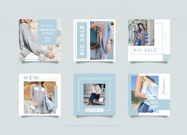 Instagramのポストデザインまたはファッションストアショップの正方形バナーテンプレート