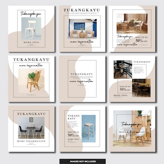 ソーシャルメディアinstagramテンプレート家具