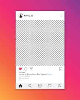Instagramフォトフレームテンプレート。ソーシャルネットワークの投稿。