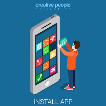 ダウンロードをインストールしてモバイルアプリをフラットアイソメトリックにする