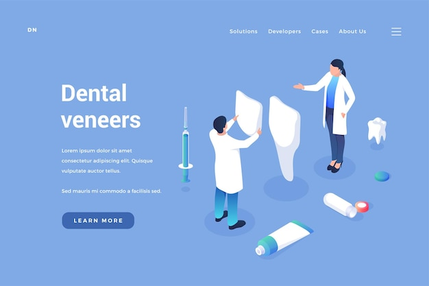 Installation of dental veneers professional dentists put on cosmetic and medical dental onlays