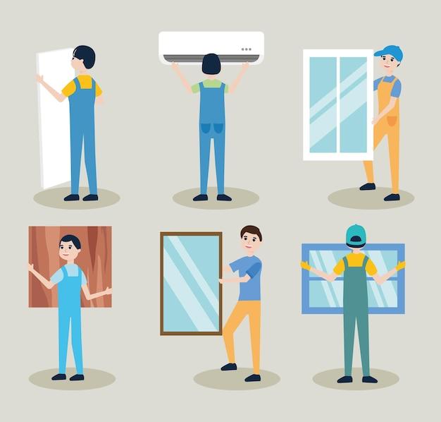 설치 노동자 아이콘 세트 디자인