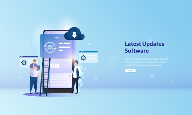 Installing the latest update software on mobile application concept