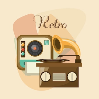 Instant camera and gramophone icon over colorful background