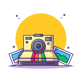 Instant camera and picture cartoon. photography concept.