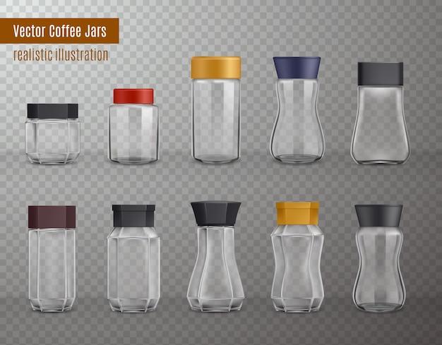 インスタントコーヒーの空の現実的なさまざまな形のガラスとプラスチックの瓶