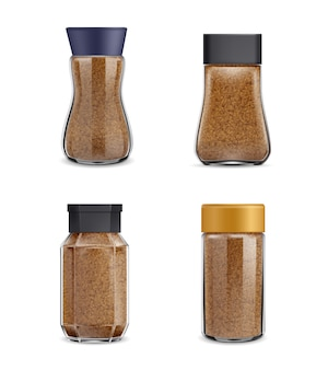 Instant coffee realistic jars