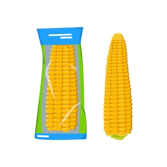 Instant corn on the cob, vacuum packed. summer and autumn harvest, delicious prepared food.