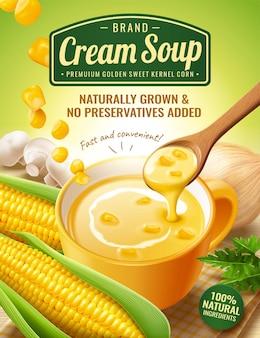 新鮮なトウモロコシの穂軸とキノコの3dイラストのインスタントコーンクリームスープ広告